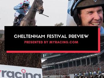 Promotional banner for an blog article featuring cheltenham racecourse and myracing branding.