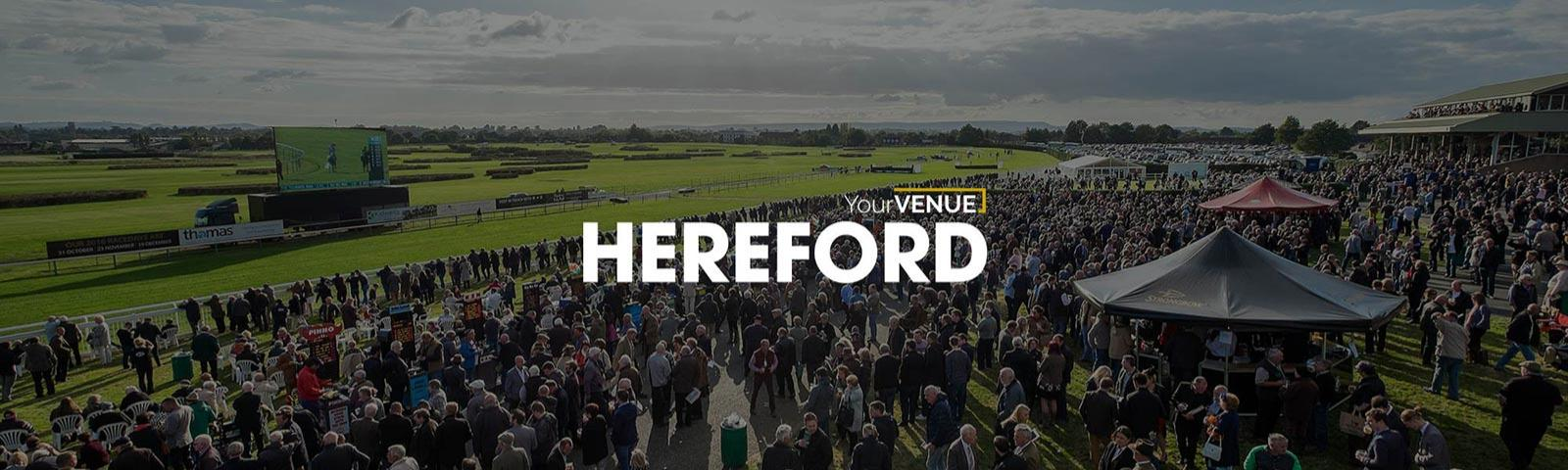 Crowds at a raceday at Hereford Racecourse.