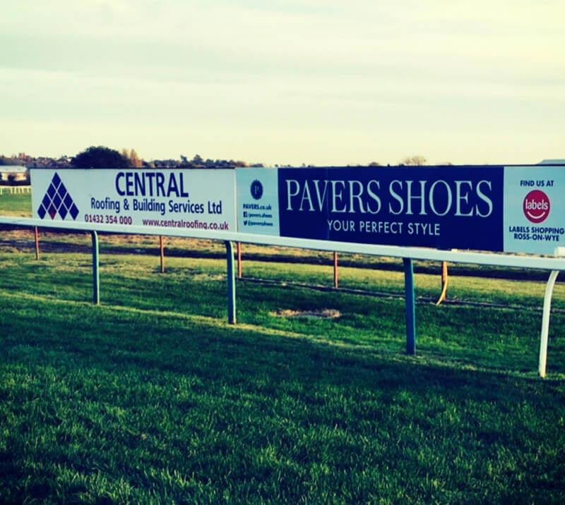 sponsorship boards at hereford racecourse